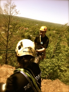 Getting ready to rappel from First Crack