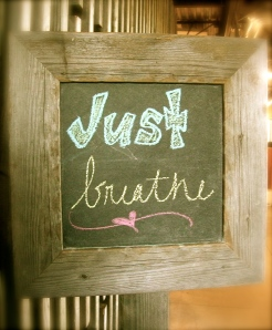 stop and breathe is the first thing you see when you walk in prAna
