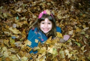 Being out in the cold triggered coughing, so one of the fun things I could do outside was jumping in leaves.