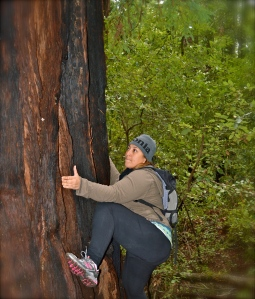 me climbing a tree during a hike in muddy, post rainy weather