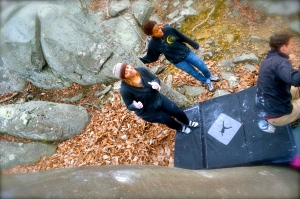 After a handful of quivery boulder problems, I finally got my head on when I sent The Seam...here I am a happy camper!