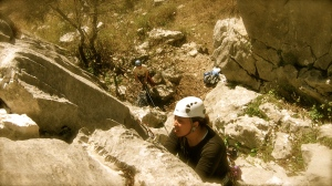 Me in Spain, I just scrambled up an easy 5.fun to the first bolt, now that I realize the real climbing was starting at 5.10, I started scoping my options while I was in a great rest spot.