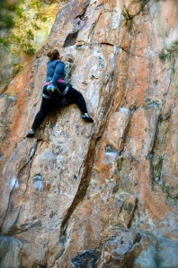 Me struggling on a climb I have sent easily in the past.
