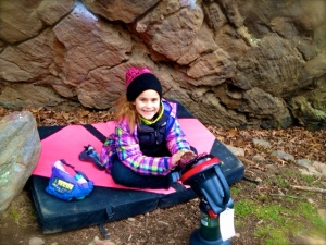 My Organic Climbing beanie, pad and chalk bag...everything I need to stay happy!