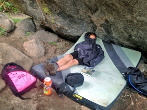 Recipe for sendage success = Rest on an Organic Climbing Pad!