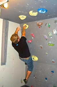 Training, my basement wall, NH. Photo: Stuart Blanchard 2011.