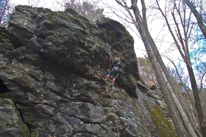 No Money Down, 5.10c, Rumney NH. My first 10 project at Rumney. Photo: Keegan Carter, 2012.