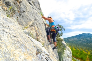 With an 80 meter rope, I was able to get on this 200 foot climb at 5.9+/5.10a.  It was not sustained with brilliant cruxes here and there.  I was totally happy going up high and enjoying the most clever techy moves and incredible views.